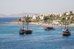 Touristic Sail Boats Near the Beach of Akyarlar, Bodrum Stock Photography