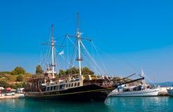 Touristic sailing boat, Sithonia, Greece. Touristic sailing boat in Ormos Panagias, Sithonia, Greece Royalty Free Stock Photo