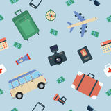 Touristic Seamless Pattern with Elements for Travel Stock Image