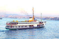 Touristic Ship. Viewed From Galata Tower Stock Photography