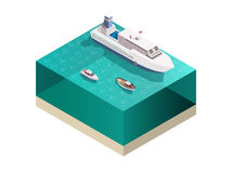 Touristic Ships Isometric Composition. Ships tourists composition with isometric image of water and passenger ocean-going ship with cruisers awash vector Royalty Free Stock Photo