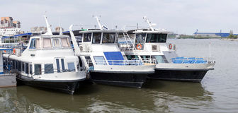 Touristic ships in Tulcea Harbour Royalty Free Stock Photography