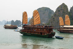Touristic ships in Vietnam Stock Images