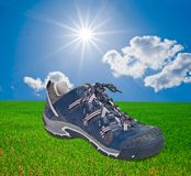 Touristic shoe on a grass Royalty Free Stock Photography