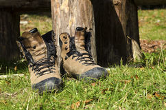 Touristic shoes in wood. Selective focus Royalty Free Stock Photography