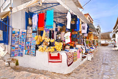 touristic shops with souvenirs at Hydra island Greece Stock Photography