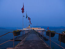 Touristic Steam Ship Stopping At Quay After Sunset Stock Photography