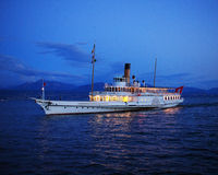 Touristic Steamship Montreux On Lake Geneva After Sunset Royalty Free Stock Images