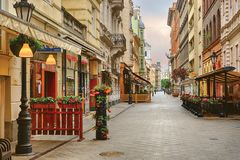 Vaci street in Budapest royalty free stock photo