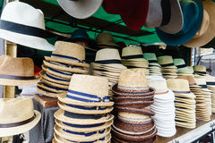 Touristic street market selling hats Stock Image