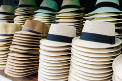 Touristic street market selling hats Royalty Free Stock Photo