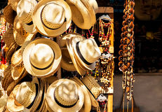 Touristic street market selling souvenirs in Cuba. Street market selling hats and souvenirs in the touristic town of Varadero in Cuba Royalty Free Stock Images