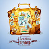 Touristic Suitcase With Stamps. Touristic suitcase with world landmark stamps and stickers cartoon poster vector illustration Royalty Free Stock Image