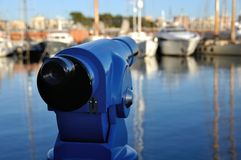 Touristic Telescope at the Barcelona Port Royalty Free Stock Image