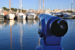 Touristic Telescope at the Barcelona Port Stock Photography