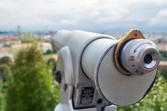 Touristic telescope look at the city with view of Prague Stock Photo