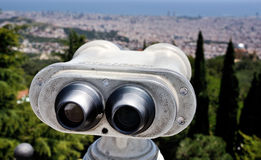 Touristic telescope with view of Barcelona Stock Image