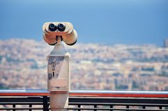 Touristic telescope with view of Barcelona Royalty Free Stock Image