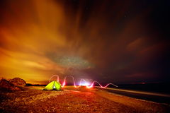 Touristic tent on the beach by night Royalty Free Stock Image
