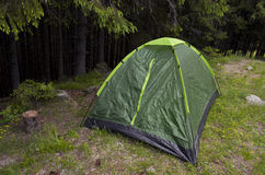 Touristic tent on the forest. Glade Royalty Free Stock Images
