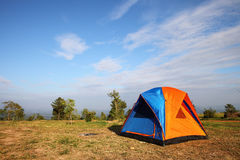 Touristic tent in a forest glade Stock Photo