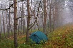 Touristic tent in a mist Stock Photo