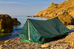 Touristic tent on a sea coast Stock Photos