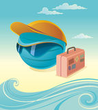 Touristic Terrestrial Globe. Vector illustration of terrestrial globe with peaked cap, sun glasses and suitcase. Waves and clouds on background. Touristic Royalty Free Stock Image
