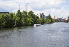 Touristic tour boat on Spree river in berlin. Royalty Free Stock Photos