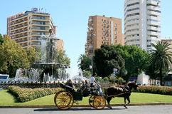 Touristic tour with carriage in Malaga, Spain Royalty Free Stock Images