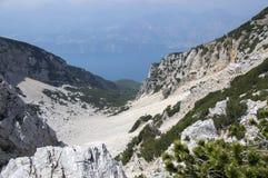 Touristic trail Alta Via del Monte Baldo, ridge way in Garda Mountains. Breathtaking views Royalty Free Stock Images