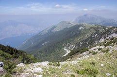 Touristic trail Alta Via del Monte Baldo, ridge way in Garda Mountains. Lake Garda viewpoint Royalty Free Stock Photo