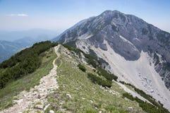 Touristic trail Alta Via del Monte Baldo, ridge way in Garda Mountains. Way up Stock Photo