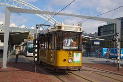 Touristic Tram. The touristic tram in Rotterdam, the Netherlands Stock Photos