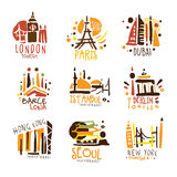 Touristic Travel Agency Set Of Colorful Promo Sign Design Templates With Different Tourism Cities And Their Architecture Royalty Free Stock Photography