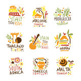 Touristic Travel Agency Set Of Colorful Promo Sign Design Templates With Different Tourism Countries And Their Famous. Objects. Bright Color Promotional Vector Royalty Free Stock Images