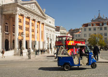 Touristic vehicles in Rossio, Lisbon, Portugal Royalty Free Stock Photo
