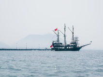 A touristic yach in Alanya bay Royalty Free Stock Photo