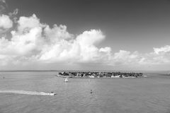 Touristic yachter som svävar nära den gröna ön på Key West, Florida Arkivbild