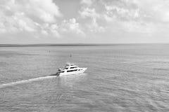 Touristic yachter som svävar vid den gröna ön på Key West, Florida Royaltyfri Fotografi