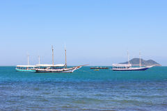 Touristic yachts in sea near island, Buzios,  Brazil Stock Images