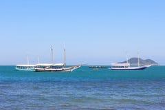 Touristic yachts in sea near island, Buzios,  Brazil Stock Images