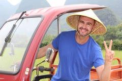 Touristisch, Spaß in Asien habend stockbild