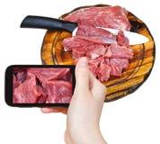 Touristische Fotografien des rohen Fleisches des Schnittes Stockbild
