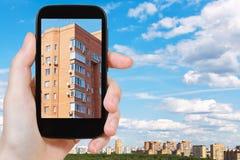 Touristische Fotografien des städtischen Backsteinhauses Lizenzfreie Stockfotos