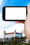 Touristische Fotografien von Schloss Bratislavas Hrad Lizenzfreie Stockfotografie