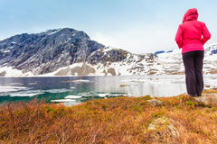 Touristische Frau, die Djupvatnet See, Norwegen bereitsteht Stockfotografie