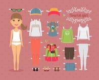 Touristische Mädchen-Papier-Puppe mit Kleidung und Schuhen vektor abbildung