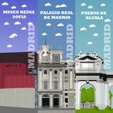 Touristische Marksteinfahnen Madrids Vektorillustration mit berühmten Gebäuden Spaniens Lizenzfreie Stockfotos