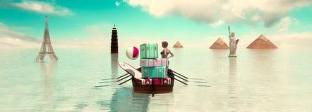 touristische Reiseziele in der Welt stock abbildung